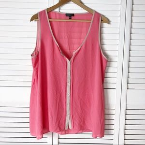 Spense coral and tan sleeveless blouse
